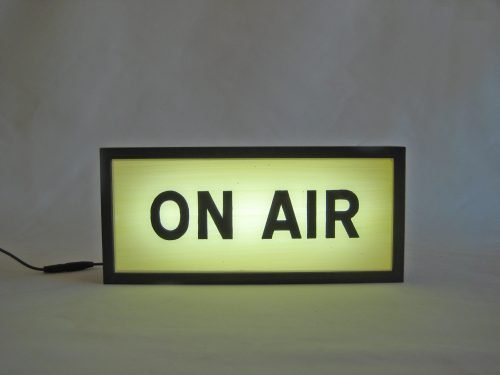 vintage on air wooden lightbox sign