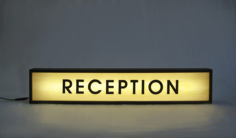 "Custom Lightbox Hand Painted ""RECEPTION"" Sign"