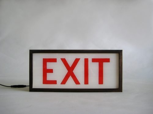 "Hand-Painted Lighted Vintage ""EXIT"" Sign Wooden Lightbox Signs"
