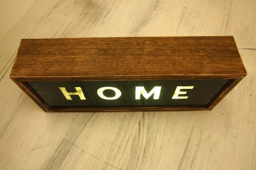 "Hand Painted Wooden Lightbox ""HOME"" Vintage Lighted Sign"