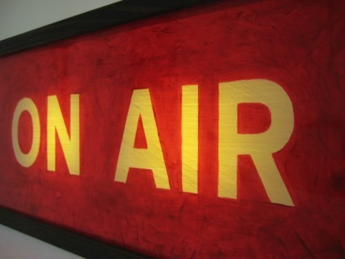 vintage red on air sign wooden lightbox