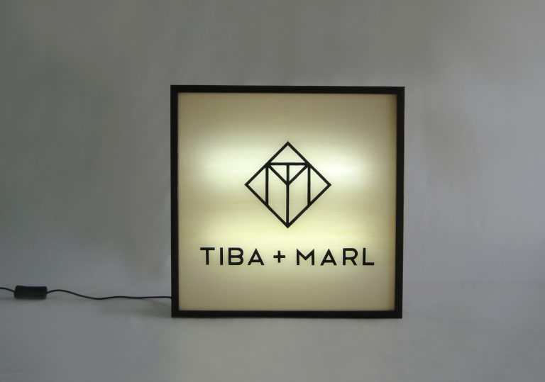 "Custom Make Hand Painted ""TIBA + MARL"" Logo Lightbox"