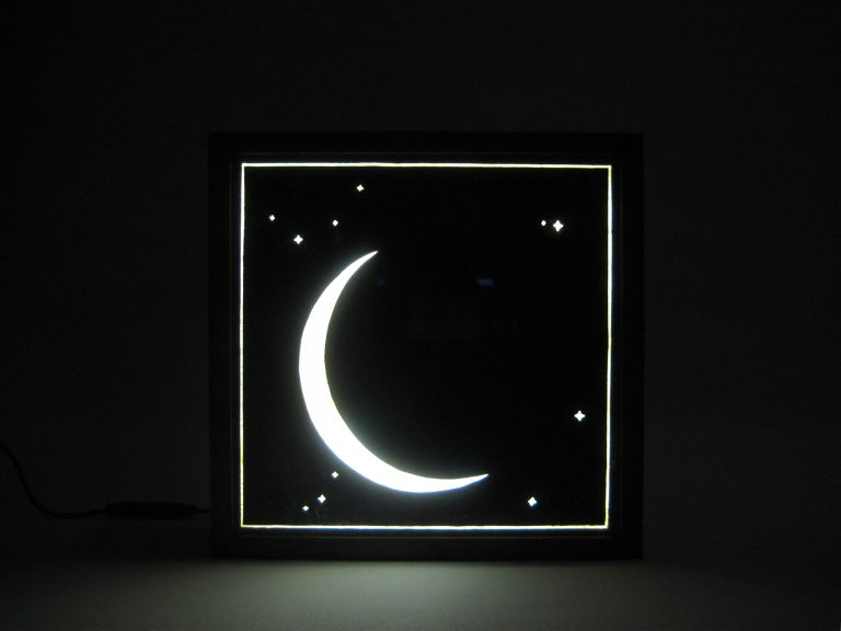Bespoke Lightbox Hand Painted Signs Moon and Star Nightlight for Nursery