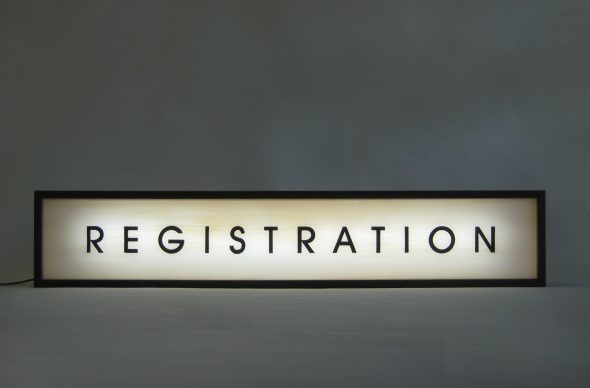 Custom Lightbox Signs REGISTRATION for Hood River Hotel, Oregon, USA