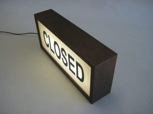 CLOSED Sign - Wooden Light Box - Lighted Hand Painted Signs