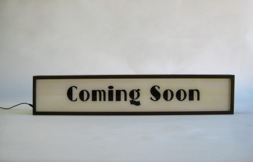 COMING SOON Sign, Wooden Light Box Hand Painted Sign for Vintage Art Deco Home Theatre Movies Room, New Products Released Announcement