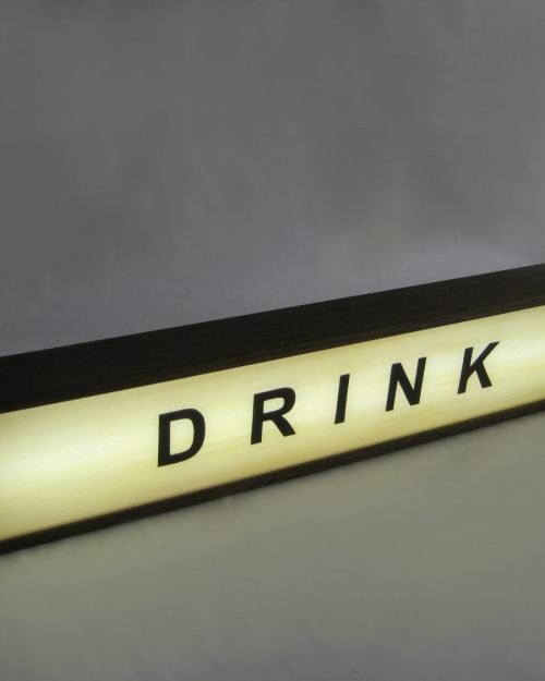 Drink sign handcrafted wooden light box