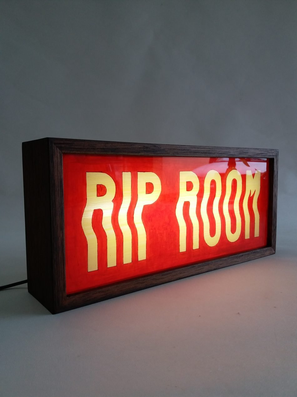 custom rip room lightbox signs for jackie cantwell