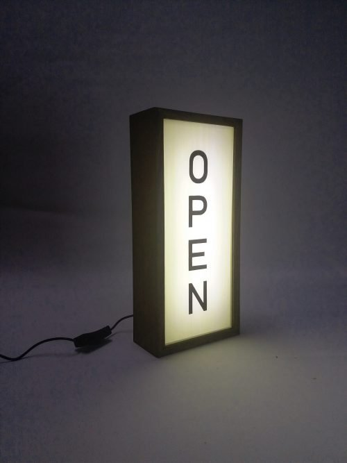 open sign vertical handcrafted wooden lightbox sign