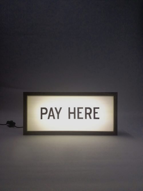 pay here sign handcrafted wooden light box sign