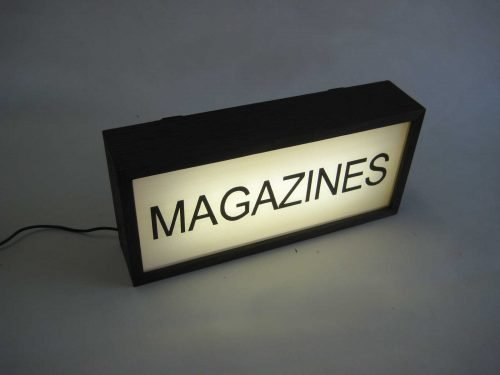 magazine sign lightbox hand painted