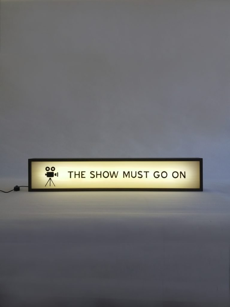 Custom The Show Must Go On Lightbox Delivered to the UK