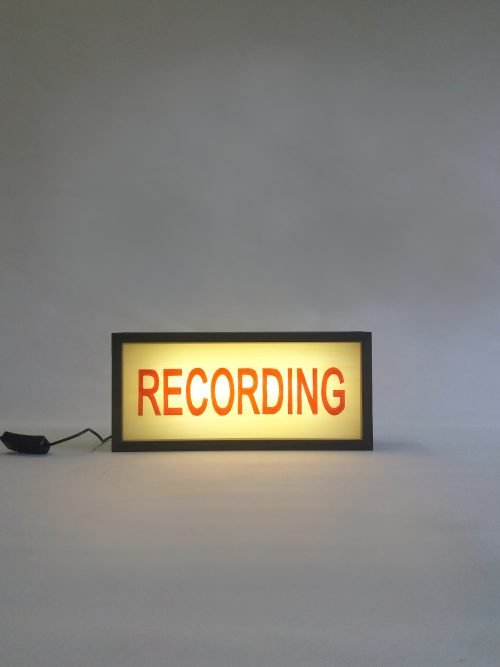 recording sign in red