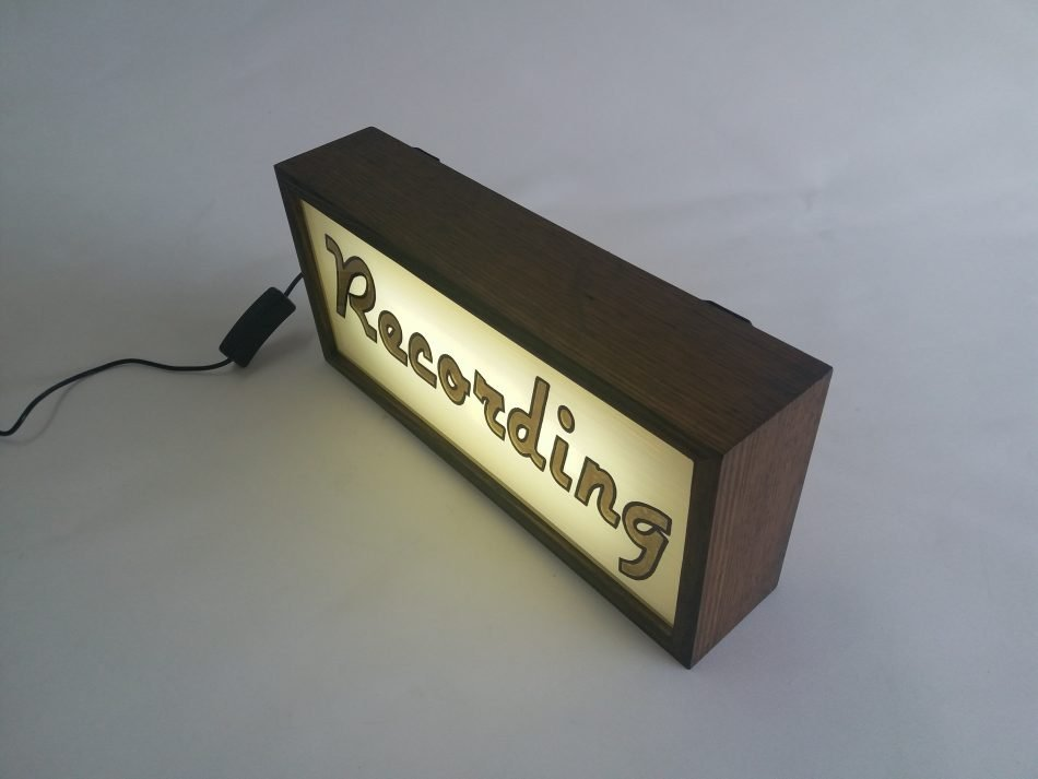 Custom Gold Leaf Recording Sign Lightbox