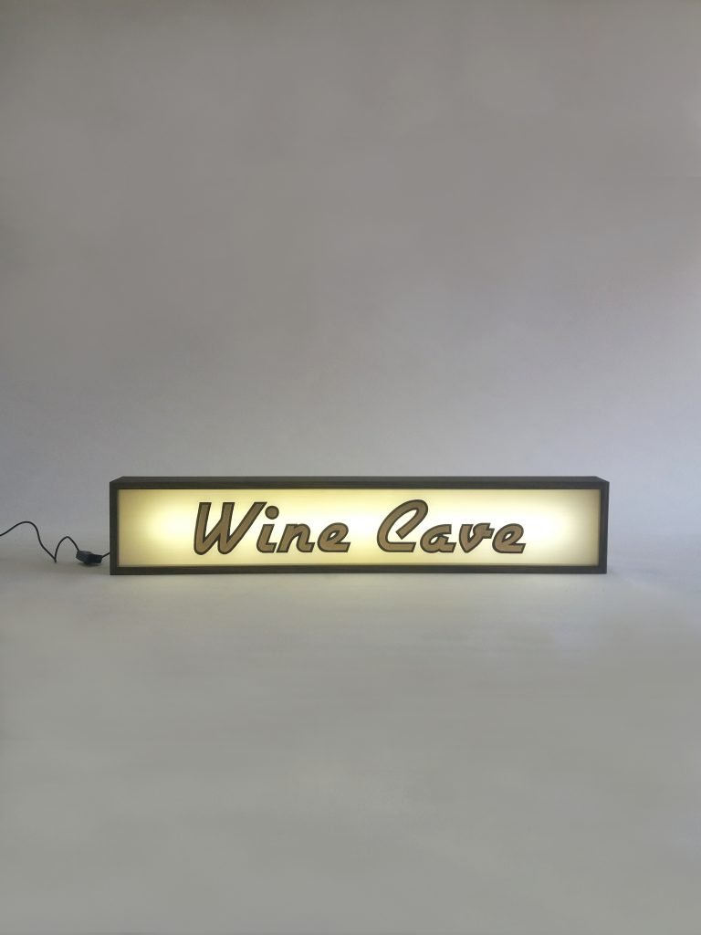 Read more about the article Custom Gold Leaf Wine Cave Sign Lightbox
