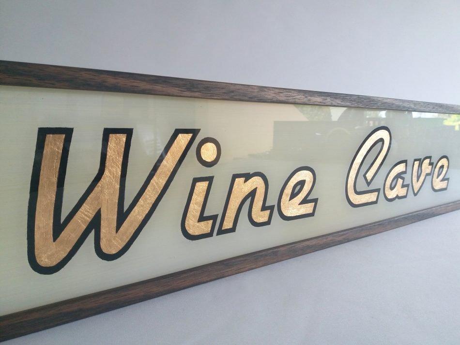 Custom Gold Leaf Wine Cave Sign Lightbox