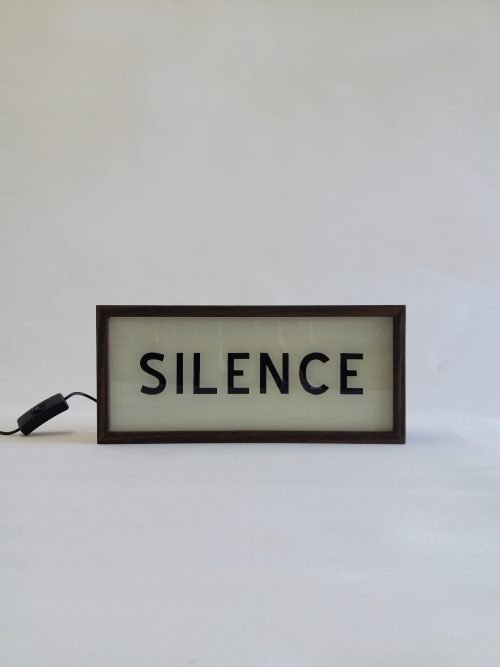 silence lightbox sign