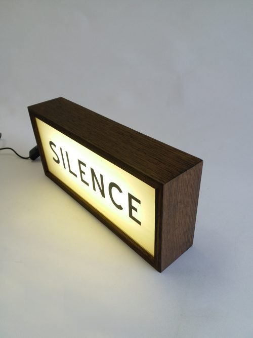silence lightbox sign handcrafted