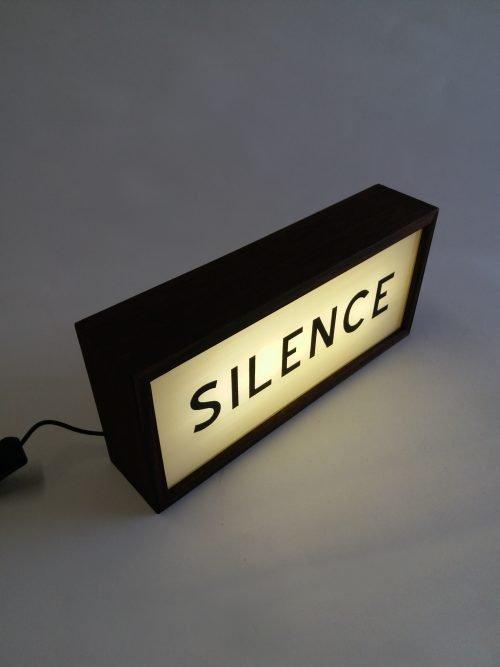 silence lightbox sign handpainted