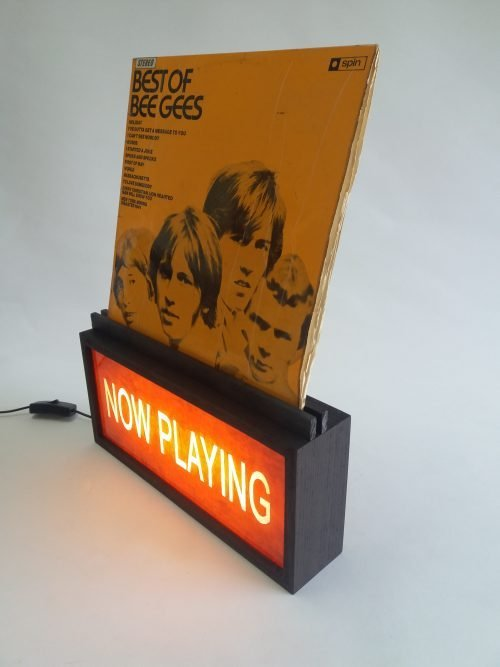 NOW PLAYING in Red - Wooden Vinyl Record Stand / Holder